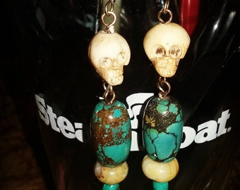 Water Buffalo and Turquoise Earrings