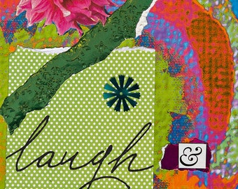 """Healing, Blessed, Channeled """"Prayer for Happiness"""" Prayer Card printed with Original Mixed-Media Collage Art"""