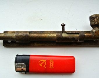 Antique Solid Brass Barrel Bolt Slide Door Lock, Vintage Brass Sliding Door Tower Bolt, Bathroom Toilet Door Sliding Bolt Lock Latch