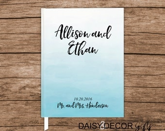 Wedding Guestbook, Guest Book, 5x7 8x10 Wedding Journal Personalized Wedding Gustbook Custom Modern Guestbook Personalized Keepsakes Blue