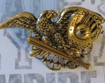 Eagle's Baseball Pin 24 Karat Gold Plate Eagle Softball Ball Bat Glove Mitt Baseball Mom Gift PG346