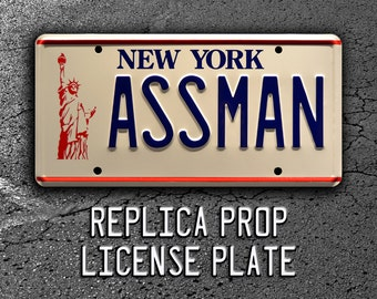 Seinfeld / Cosmo Kramer's Impala / ASSMAN *Metal Stamped* Replica Prop License Plate