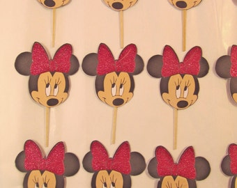 Minnie Mouse Face Cupcake Toppers, Minnie Mouse Cupcake Toppers, set of 12