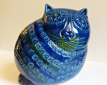Italian Pottery Cat BANK - in the manner of Rimini blu Bitossi by Aldo Londi