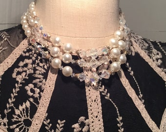 Vintage Three Strand Imitation Pearl and Crystal Necklace