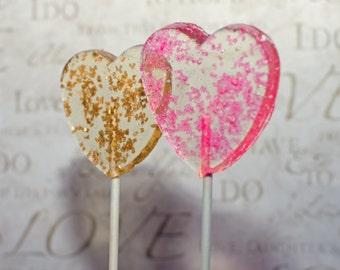 Glitter Celebration Lollipops, Hard Candy Lollipops, Candy Lollipops, Clear Lollipops, Lollipops, Wedding Favors-Set of six or twelve