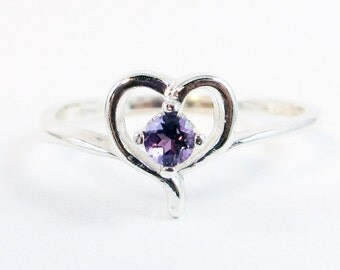 Tiny Amethyst Heart Ring Sterling Silver