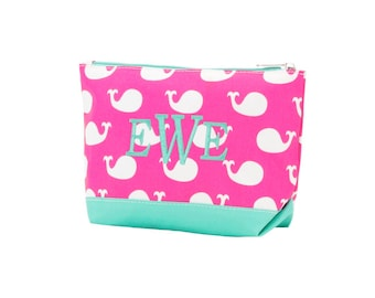 Monogrammed Pink Whale Cosmetic Bag