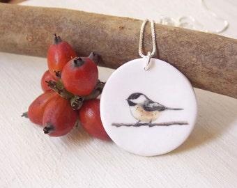 Bird necklace, chickadee necklace, chickadee pendant, bird pendant, songbird necklace, Christmas jewelry, mom daughter necklaces, bird charm