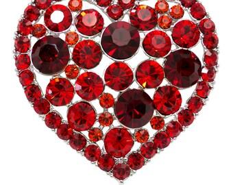 Swarovski Elements Crystals Heart Brooch Pin