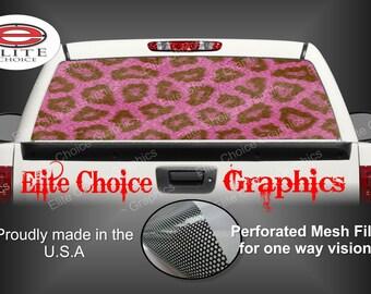 Pink Leopard Print Rear Window Graphic Tint Decal Sticker Truck SUV Van Car