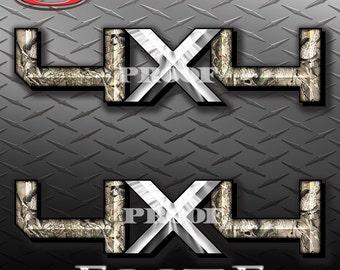 4x4 Hard Edge Obliteration Skull Camo Camouflage Truck Bed Vinyl Decal Sticker - PAIR