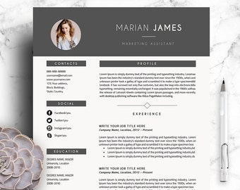 Marian Professional Resume Template | CV Template 3 Pages A4 Size + Cover Letter for MS Word + Free Icon Sets Instant Digital Download
