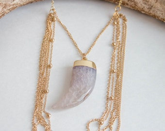 Italian Horn and Layered Chain Necklace