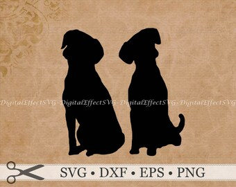 DOG SVG File, Two Dogs Silhouette Svg, Png, Dfx,Pair of Dogs Silhouette, Dog Clipart, Dog Vector Image, Dogs Svg Silhouette Cricut Cut Files