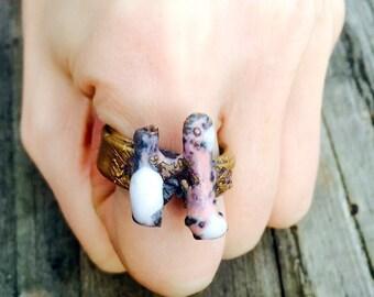 SALE! Nature Ring, Stick Ring, Gemstone Ring, Raw Ring, Gold Ring, Pink Ring, White Ring