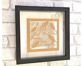 Framed papercut Jane Austen quote, booklovers quote, framed wall art