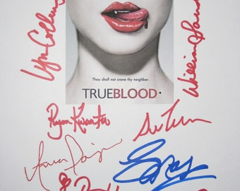 True Blood Signed TV Script Screenplay X10 Autographs Anna Paquin Stephen Moyer Sam Trammel Ryan Kwanten Rutina Wesley Chris Bauer signature