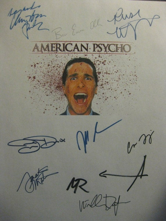 American Psycho Signed Film Movie Screenplay Script X10 Autographs Christian Bale Jared Leto Reese Witherspoon Bret Easton Ellis Theroux