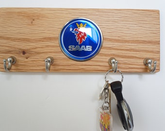 Saab Wood key holder, solid wall mounted key holder, key organizer, wood hanger, key storage, key hooks, wood metal hooks, SAAB logo emblem