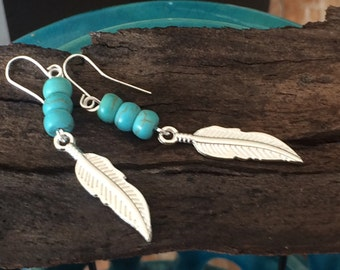 Gold turquoise feather earrings, Gold feather earrings, Turquoise beaded earrings, boho earrings, boho feather earrings, gypsy earrings,