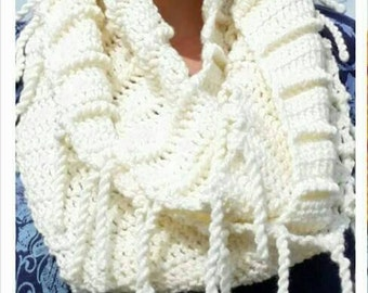 Crochet Ribbed Infinity Scarf with Fringe, crochet cowl, crochet scarf, handmade gifts, gift ideas for her, woman's scarf, infinity scarf