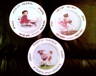 "Lot oF 3 SARAH STILWELL WEBER Calendar Series 7"" Vintage Collectible Numbered Porcelain Plates 1985-86"