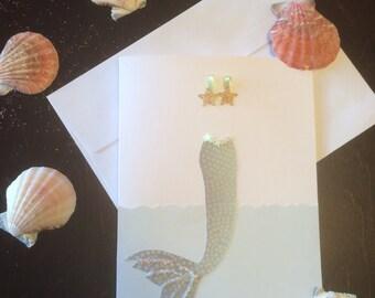 Whimsical mermaid greeting card
