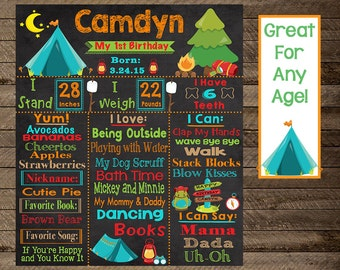 Camping birthday Chalkboard, Birthday chalkboard, camping theme birthday, camping party decor, camping party print, first birthday, second