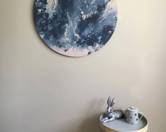 "Extra Large Acrylic Marble Painting - Smoky Blue, Silver & Pearl Canvas - 30""/75cm"