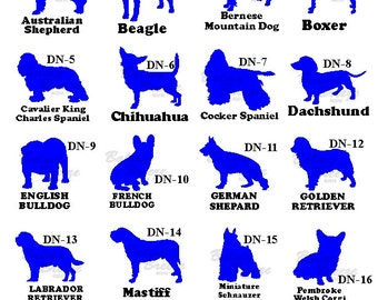 Vinyl Dog Decal with Breed, Dogs Name, or Short Saying.