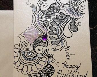 Bespoke henna designed cards - acrylic paints