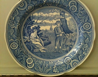 """Sale!  The Spode Blue Room Collectors Plate """"The Woodsman"""" Made in England Transferware"""