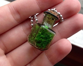 Square Moss Filled Glass Pendant Necklace