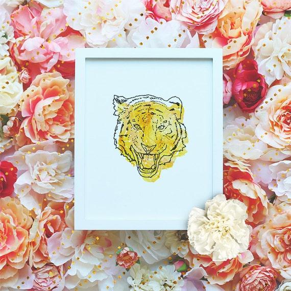 Tiger printable poster, Nursery Printable Wall Art, Animal Printable, Modern Wall Art, Minimalist Poster, Watercolor Print DIGITAL FILE