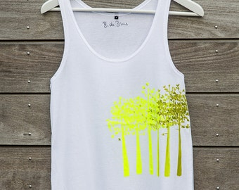 Landes #005 - tank top yellow and green - trees - hand painted