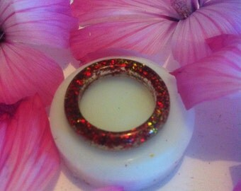 Red and gold glitter resin ring
