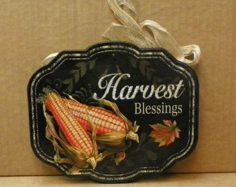 "HARVEST BLESSINGS Sign T-J7202 8"" L x 0.25"" W x 6.5"" H"