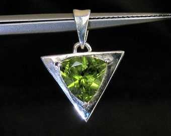 Sterling silver triangle pendant with trillion cut Peridot gemstone