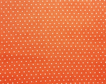 Cotton Polka Dot Fabric, Cotton Fabric, Polka dot Fabric, Dusty Orange, Essential, Quilting Dressmaking Sewing Supplies, Wide, Half Metre