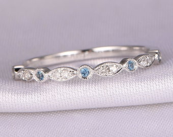 natural diamond topaz wedding ring london blue topaz ring stackable ring art deco band matching - Topaz Wedding Ring