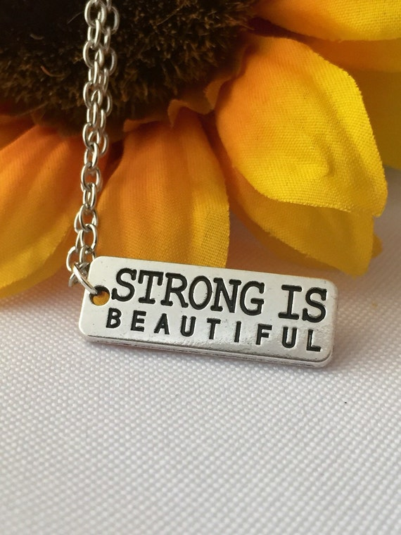 Crossfit Jewelry, CrossFit Necklace, Cross Fit Weightlifting Jewelry, Strong is Beautiful Charm, Motivational Fitness Gift, Word Quote Charm