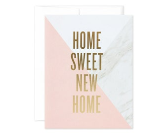 """Marble Colorblock """"Home Sweet New Home"""" Greeting Card"""