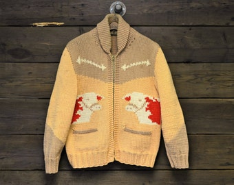 Beige & Tan Cowichan with Red Cows