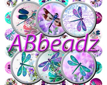 "24 Paired 1"" Round Dragonfly Bottle Cap Images"