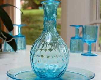 Turqouise Glass Decanter and Plate