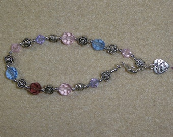 Handmade bracelet with Crystal beads and charm