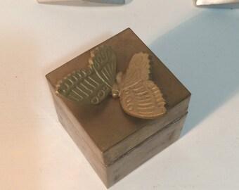 brass trinket box, with butterfly, small brass jewelry box, boho decor, 70's