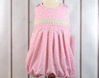 Pink Polka Dot, Baby Girl Bubble, Sunsuit, Size 24 Months, Handmade, Summer Classic, Comfortable, Easy Dressing, Embroidered Ribbon Trim