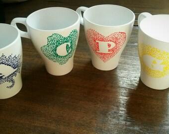 Hand Painted Porcelain Mug - Letters